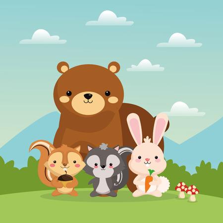 귀여운 곰 다람쥐에 의해 표현 된 우드 랜드 동물 개념 토끼와 스컹크 만화 아이콘 위로 풍경입니다. Colorfull 및 평면 그림입니다.