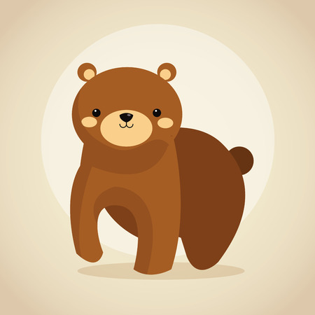 woodland: Woodland animal concept represented by cute bear cartoon icon. Colorfull and flat illustration.