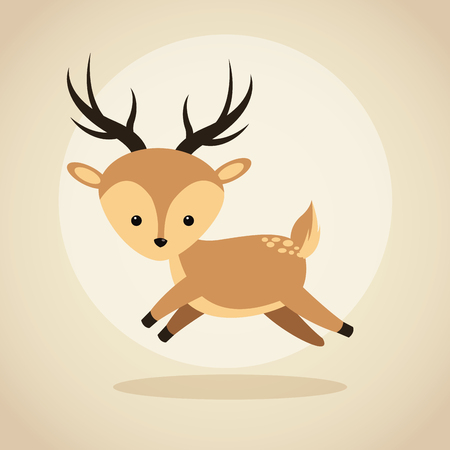 Woodland animal concept represented by cute reindeer cartoon icon. Colorfull and flat illustration. Illustration