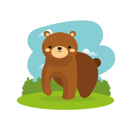 Woodland animal concept represented by cute bear cartoon icon. Colorfull and flat illustration.