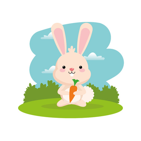 Woodland animal concept represented by cute rabbit cartoon with carrot icon. Colorfull and flat illustration.