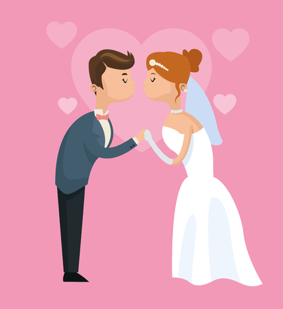 couple date: couple cartoon girl boy man woman save the date wedding icon. Colorfull and flat illustration. Vector graphic Illustration