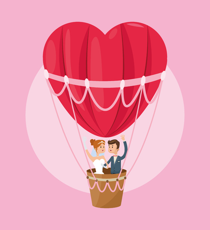 hot couple: hot air balloon heart couple cartoon girl boy man woman save the date wedding icon. Colorfull and flat illustration. Vector graphic Illustration