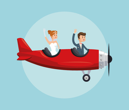 airplane couple cartoon girl boy man woman save the date wedding icon. Colorfull and flat illustration. Vector graphic Vettoriali