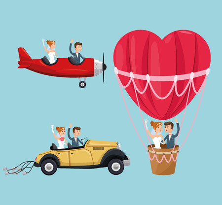 hot couple: hot air balloon airplane car couple cartoon girl boy man woman save the date wedding icon. Colorfull and flat illustration. Vector graphic