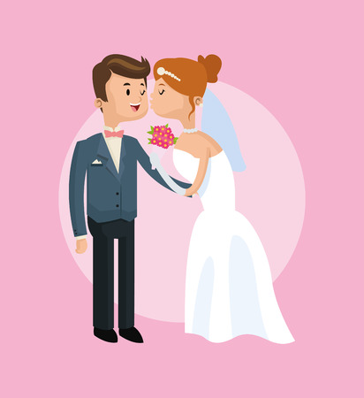 couple date: couple cartoon girl boy man woman save the date wedding icon. Colorfull and pink background. Vector graphic Illustration