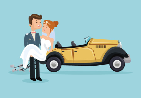 event planner: car auto classic couple cartoon girl boy man woman save the date wedding icon. Colorfull and flat illustration. Vector graphic