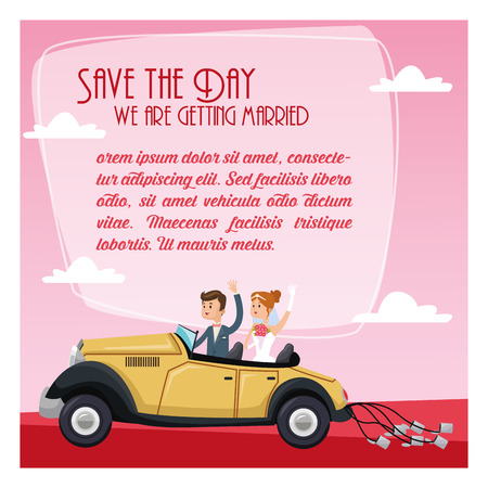 couple date: car auto classic couple cartoon girl boy man woman save the date wedding icon. Colorfull and flat illustration. Vector graphic