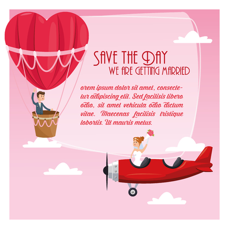 hot couple: hot air balloon airplane couple cartoon girl boy man woman save the date wedding icon. Colorfull and flat illustration. Vector graphic
