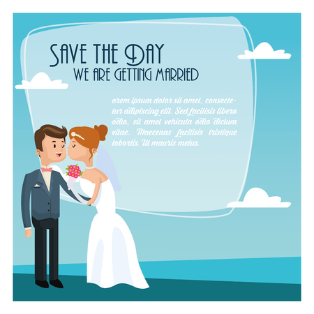 couple date: sky couple cartoon girl boy man woman save the date wedding icon. Colorfull and flat illustration. Vector graphic Illustration
