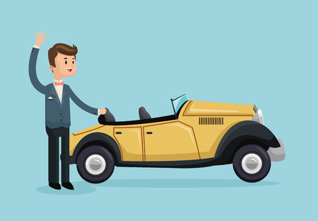 car classic cartoon boy man save the date wedding icon. Colorfull and flat illustration. Vector graphic