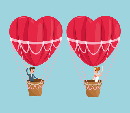 hot air balloon heart couple cartoon girl boy man woman save the date wedding icon. Colorfull and flat illustration. Vector graphic Illustration