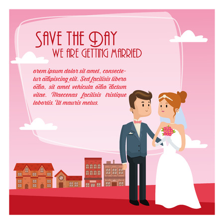couple date: city couple cartoon girl boy man woman save the date wedding icon. Colorfull and Pink and sky background. Vector graphic Illustration