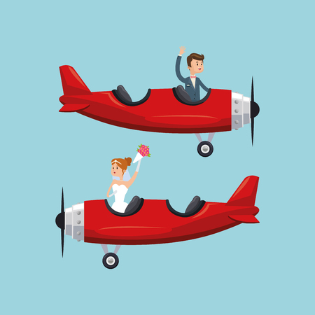 airplane couple cartoon girl boy man woman save the date wedding icon. Colorfull and flat illustration. Vector graphic 向量圖像
