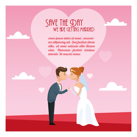 couple date: couple cartoon girl boy man woman save the date wedding icon. Colorfull and Pink and sky background. Vector graphic Illustration
