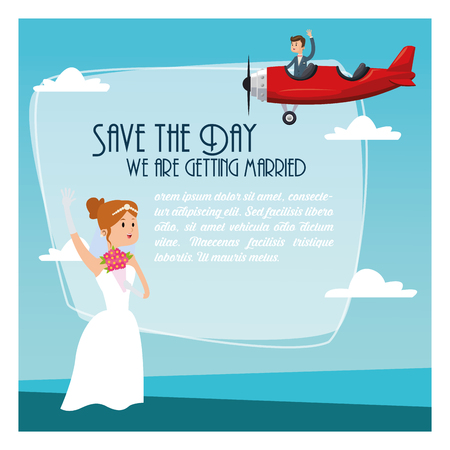 couple date: airplane couple cartoon girl boy man woman save the date wedding icon. Colorfull and flat illustration. Vector graphic Illustration