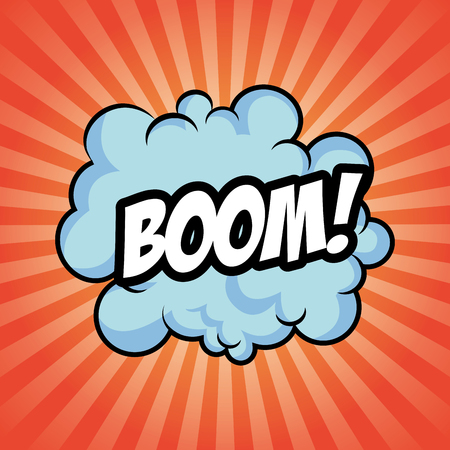 detonation: boom bomb cloud striped explosion icon. Colorfull illustration red background. Vector graphic