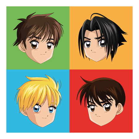 manga: Boy anime male manga cartoon comic icon. Colorfull and frames illustration. Vector graphic