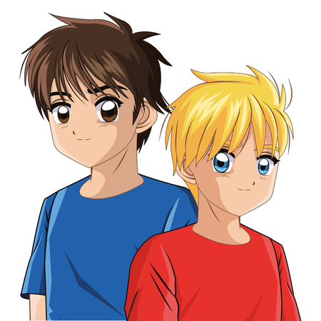 少年アニメ男性マンガ漫画コミック アイコン。カラフルな孤立した図。ベクター グラフィック 写真素材 - 62292639