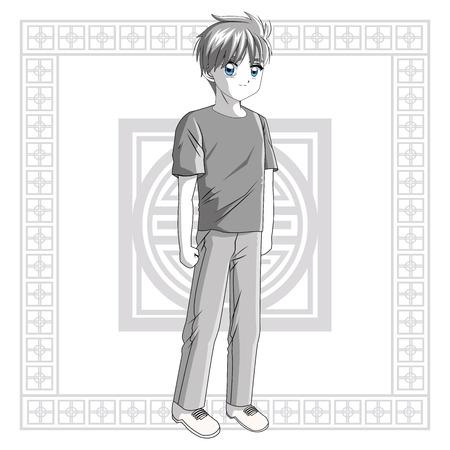 manga: Boy frame anime male manga cartoon comic icon. Grey back and white illustration. Vector graphic