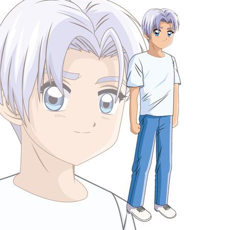 少年アニメ男性マンガ漫画コミック アイコン。カラフルな孤立した図。ベクター グラフィック