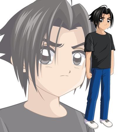 manga: Boy anime male manga cartoon comic icon. Colorfull and isolated illustration. Vector graphic
