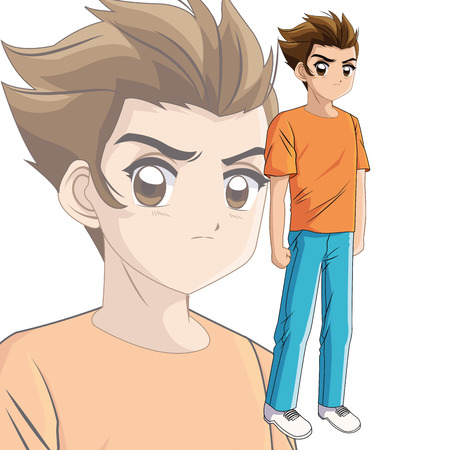 manga: Boy anime male manga cartoon comic icon. Colorfull and isolated illustration. Vector graphic