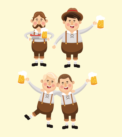 oktoberfest background: cartoon men male beer festival oktoberfest germany icon. Colorfull illustration Pastel background. Vector graphic