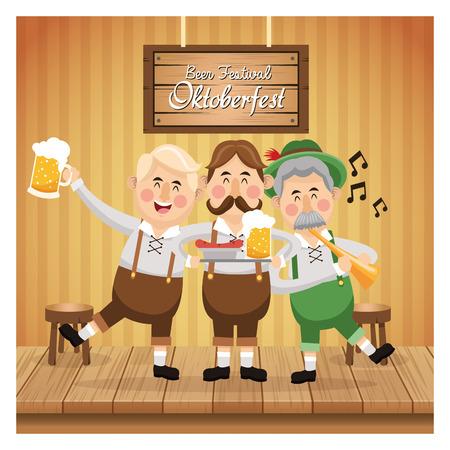 colorfull: cartoon men male beer festival oktoberfest germany icon. Colorfull illustration Bar background. Vector graphic Illustration