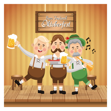 cartoon men male beer festival oktoberfest germany icon. Colorfull illustration Bar background. Vector graphic Illustration