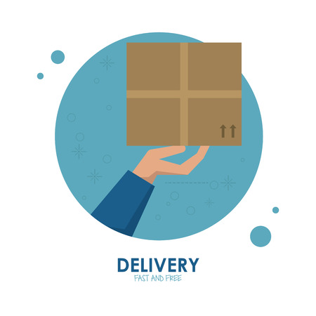 package icon: Delivery and Shipping concept represented by package icon. Colorfull and flat illustration.