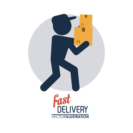 Delivery and Shipping concept represented by delivery man icon. Colorfull and flat illustration.