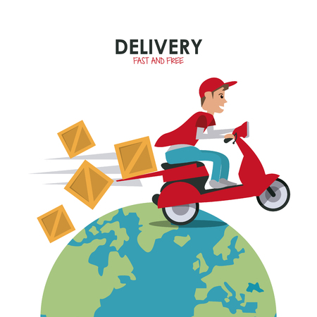 package icon: Delivery and Shipping concept represented by red motorcycle and package icon. Colorfull and flat illustration.
