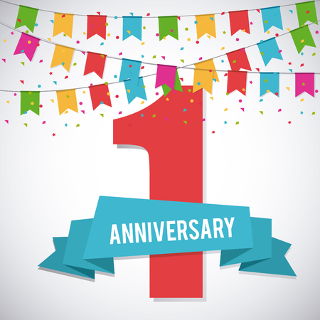 1: Celebrating Anniversary concept represented by 1 year number icon. Colorfull and flat illustration. Illustration