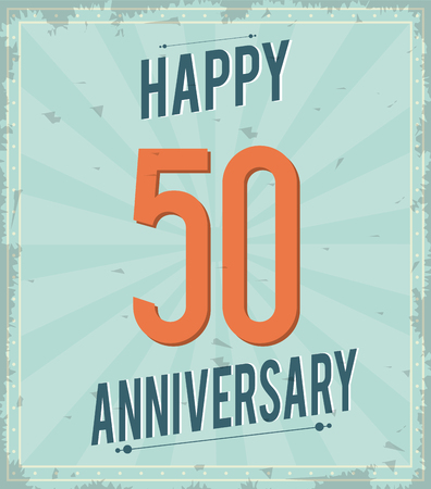 50 number: Celebrating Anniversary concept represented by 50 year number icon. Colorfull and grunge illustration.