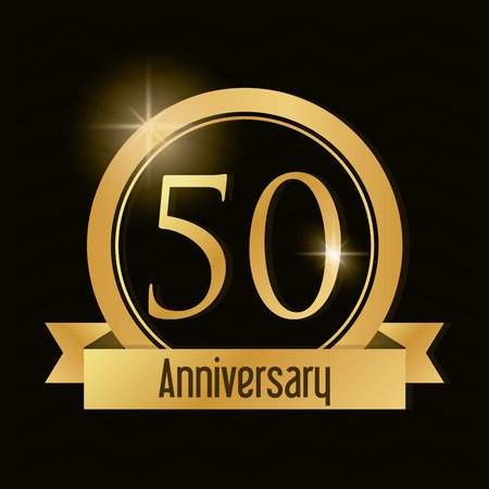 50 number: Celebrating Anniversary concept represented by 50 year number icon with ribbon. Gold and flat illustration. Illustration