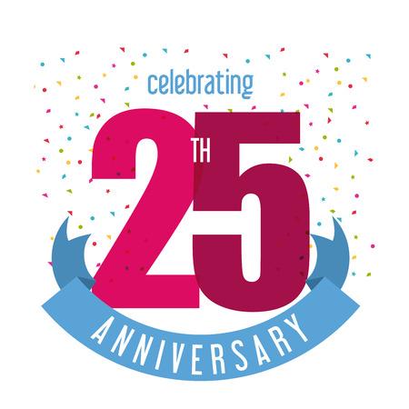 Celebración de Aniversario concepto representado por el icono de la número 25 años con la cinta. Llena de color e ilustración plana. Ilustración de vector