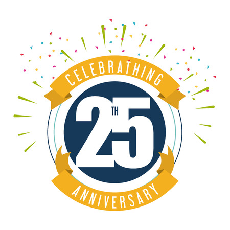 Celebrating Anniversary concept represented by 25 year number icon with ribbon. Colorfull and flat illustration. Vettoriali