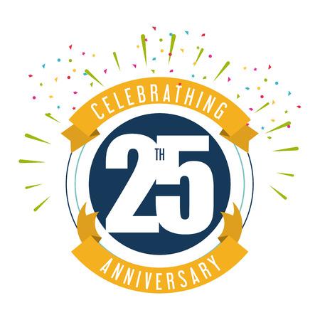 Het vieren verjaardag concept vertegenwoordigd met 25 jaar nummer pictogram met lint. Colorfull en platte illustratie.