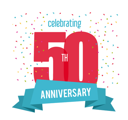 50 number: Celebrating Anniversary concept represented by 50 year number icon with ribbon. Colorfull and flat illustration.