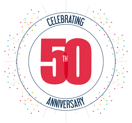 50 number: Celebrating Anniversary concept represented by 50 year number icon. Colorfull and flat illustration.