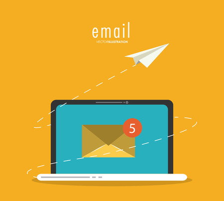 paper plane: Email concept represented by envelope, paper plane and laptop  icon. Colorfull and flat illustration.