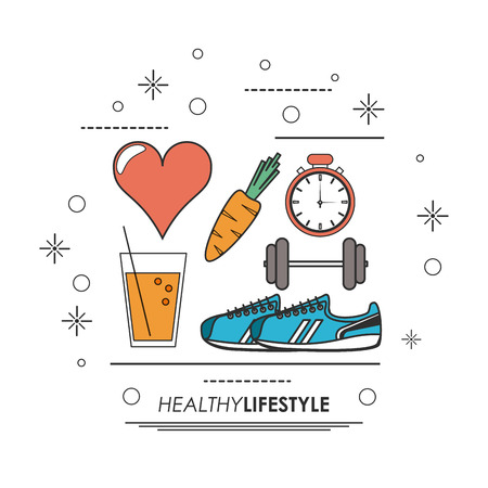carrot juice: Healthy lifestyle concept represented by shoes weight chronometer heart juice carrot icon. Colorfull and flat illustration.