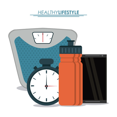 chronometer: Healthy lifestyle concept represented by weight chronometer smartphone and bottle icon. Colorfull and flat illustration. Illustration