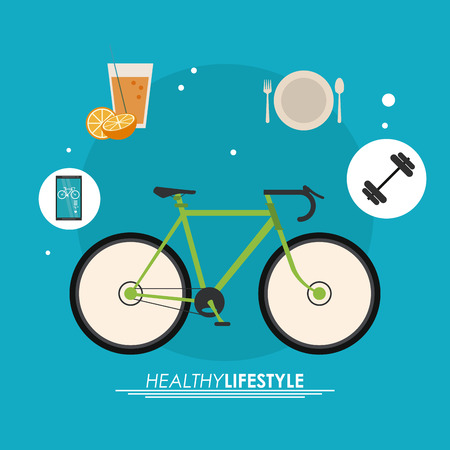 Healthy lifestyle concept represented by bike and icon set. Colorfull and flat illustration. Illustration