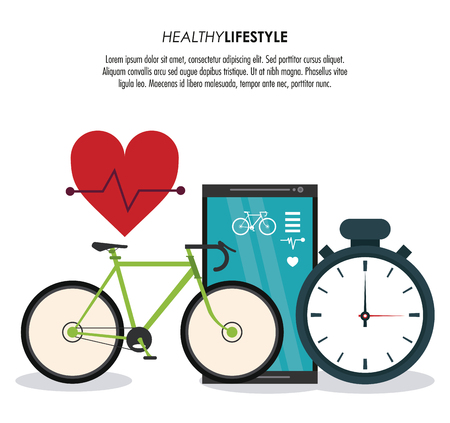 chronometer: Healthy lifestyle concept represented by bike smartphone chronometer and heart pulse icon. Colorfull and flat illustration. Illustration