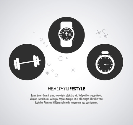 chronometer: Healthy lifestyle concept represented by watch weight and chronometer icon. Colorfull and flat illustration. Illustration