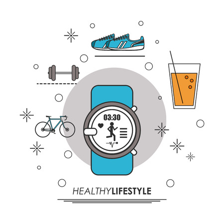 Healthy lifestyle concept represented by watch juice weight, bike shoes icon. Colorfull and flat illustration. Illustration