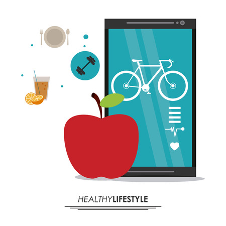 smarthone: Healthy lifestyle concept represented by smarthone and apple icon. Colorfull and flat illustration.