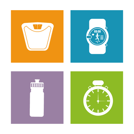 active life: Healthy lifestyle concept represented by scale watch bottle and chronometer icon. Colorfull and flat illustration.